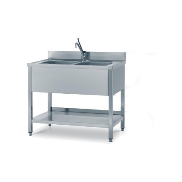 Lavello Inox 2 vasche 100x60 cm