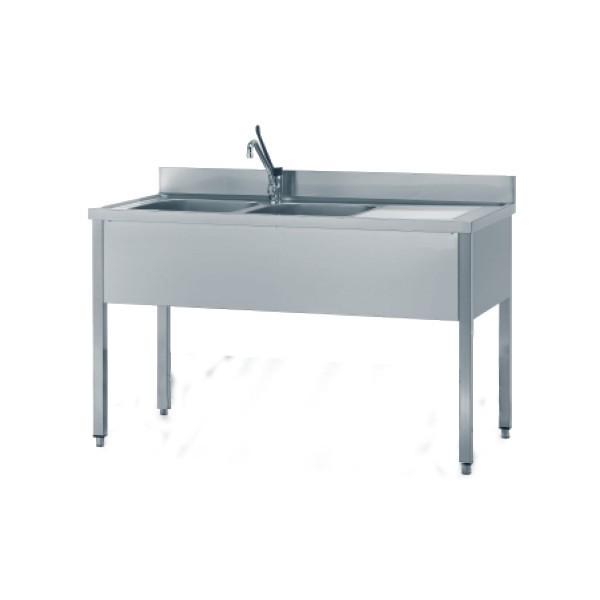 Inox 2 vasche 170x60 cm senza ripiano