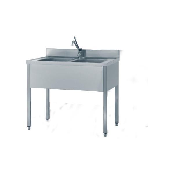 Lavello Inox 2 vasche 120x70 cm senza ripiano