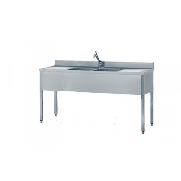 Lavello Inox 2 vasche 240x70 cm senza ripiano - Borz Cooking Store
