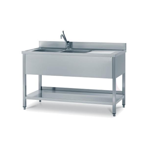 Lavello Inox 2 vasche 190x70 cm - Borz Cooking Store